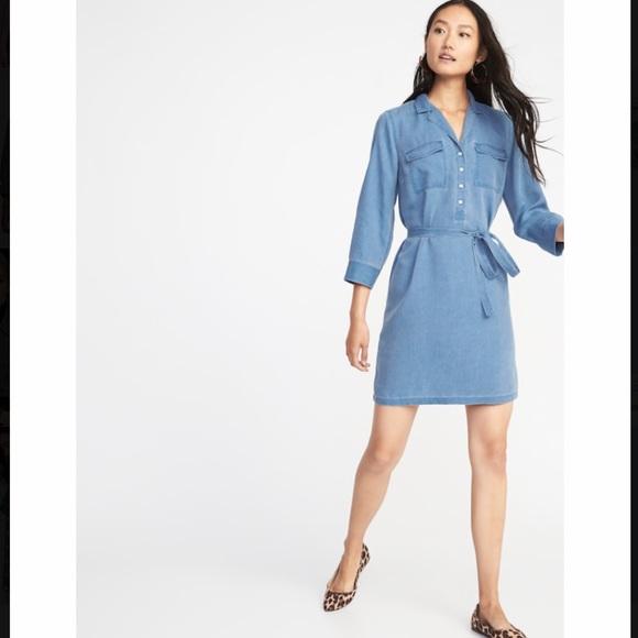 5d4d452410132 Old Navy Dresses | Utility Tie Waist Shirt Dress | Poshmark